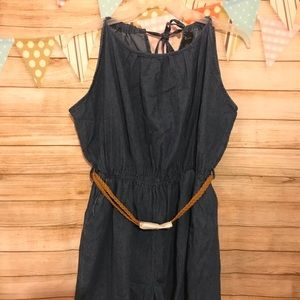 Plus Size Braided Belt Denim Romper And Bracelet